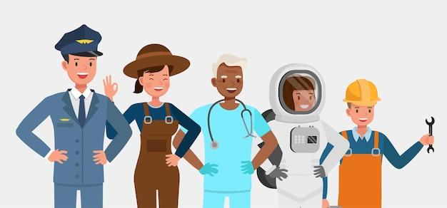 Grupo de personas de diferentes trabajos y ocupaciones de diseño de vectores de caracteres. día laboral.
