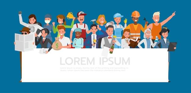 Grupo de personas diferentes trabajos y ocupaciones en el diseño de vectores de caracteres de fondo azul. día laboral.