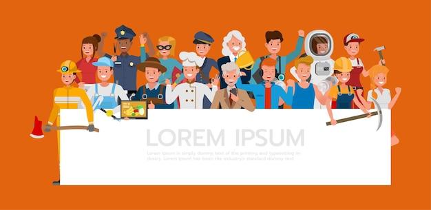 Grupo de personas diferentes trabajos y ocupaciones en el diseño de vectores de caracteres de fondo naranja. día laboral.