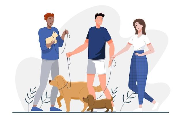 Grupo de personas de diseño plano con mascotas.