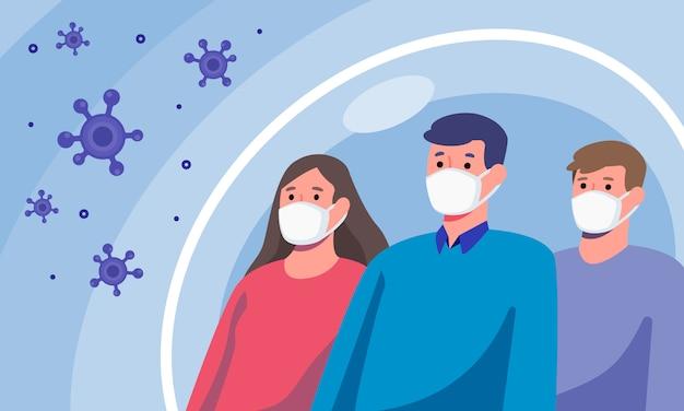 Grupo de personas diversas con máscaras de protección contra enfermedades y virus, concepto de salud e higiene, diseño plano de la ilustración.