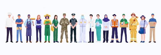 Grupo de personas de diversas ocupaciones. vector