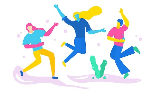 Un grupo de personas divirtiéndose y festejando.