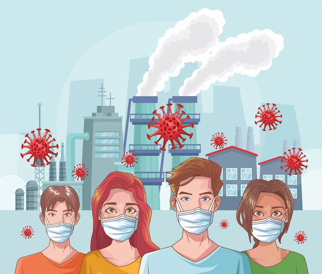 Grupo de personas con escena de coronavirus