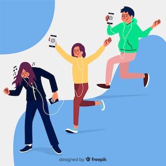 Grupo de personas escuchando música ilustración