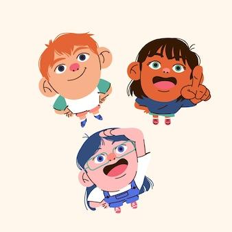 Grupo de personas de estilo de dibujos animados mirando hacia arriba