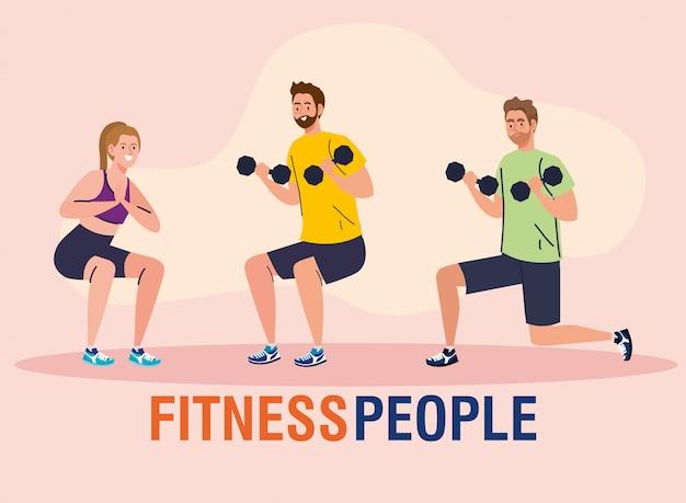 Grupo de personas de fitness, jóvenes practicando ejercicio