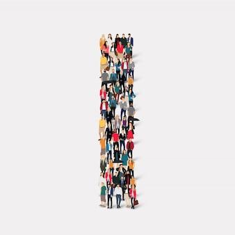 Grupo de personas forma de carta i. grupo de puntos de multitud que forma una forma predeterminada.