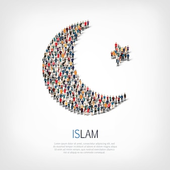 Grupo de personas forma islam luna