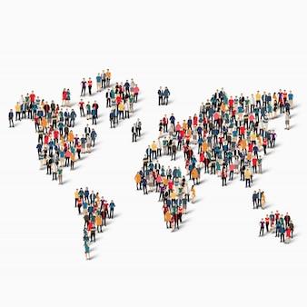 Grupo de personas forma mapa del mundo