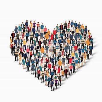 Grupo de personas forman amor de corazón