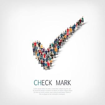 Grupo de personas forman marca de verificación