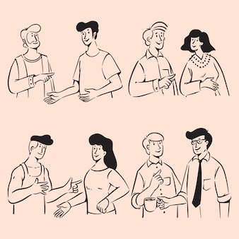 Grupo de personas garabatos en conversación