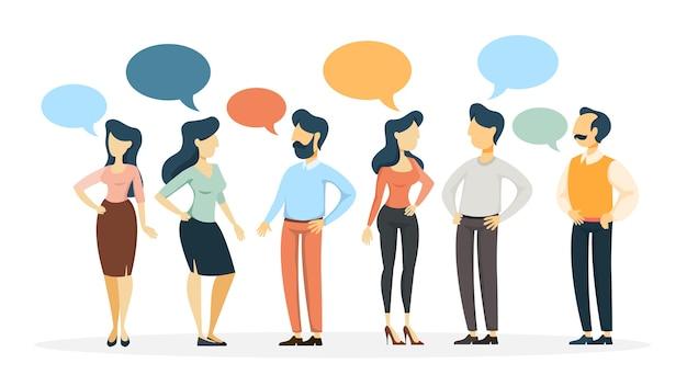 Grupo de personas hablan entre sí mediante discurso de burbuja. discusión de negocios y lluvia de ideas. ilustración