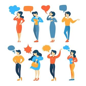Grupo de personas hablan entre sí en el teléfono móvil mediante discurso de burbuja. conversación telefónica con amigos. ilustración