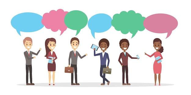 Grupo de personas hablan entre sí