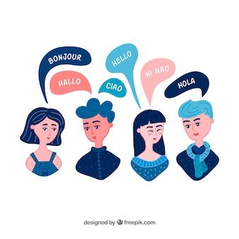 Grupo de personas hablando diferentes idiomas dibujado a mano