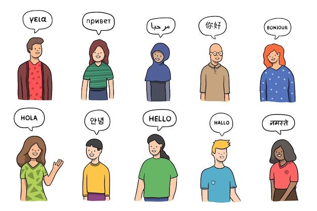 Grupo de personas hablando en diferentes idiomas.