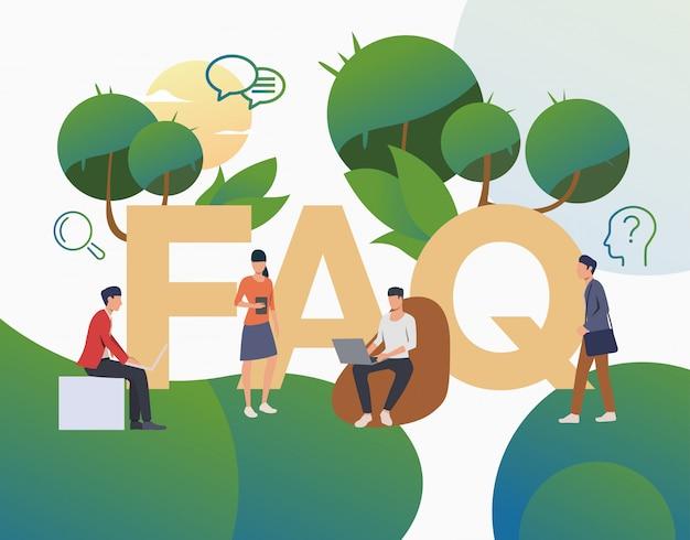 Grupo de personas haciendo preguntas frecuentes página de inicio