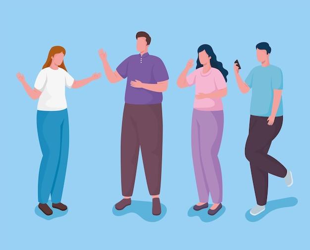 Grupo de personas con ilustración de personajes de teléfonos inteligentes