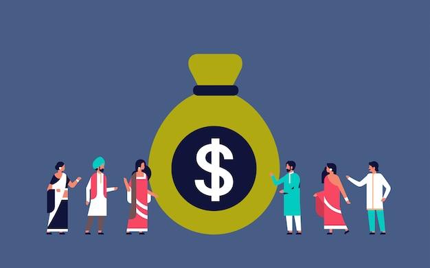 Grupo de personas indias cerca de dinero dólar bolsa crecimiento riqueza ahorro banner