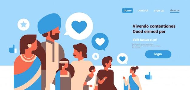 Grupo de personas indias chat de burbuja iconos de redes sociales internet