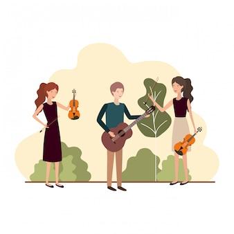 Grupo de personas con instrumentos musicales en el paisaje.