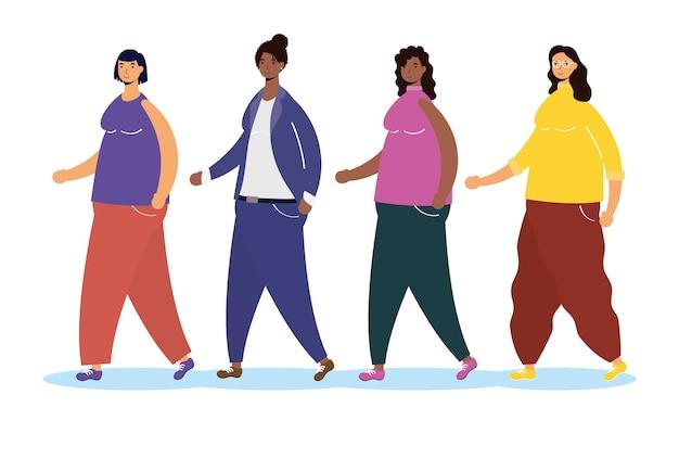 Grupo de personas interraciales caminando personajes