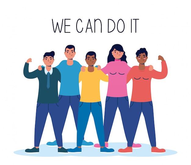 Grupo de personas interraciales con podemos hacerlo mensaje ilustración