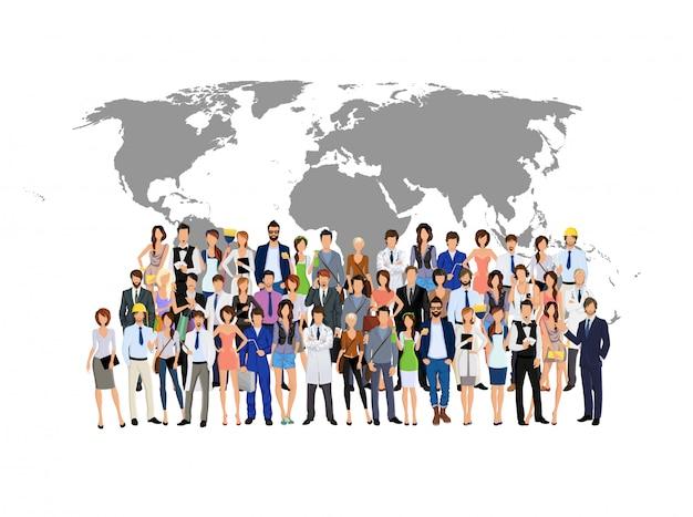 Grupo de personas en el mapa del mundo