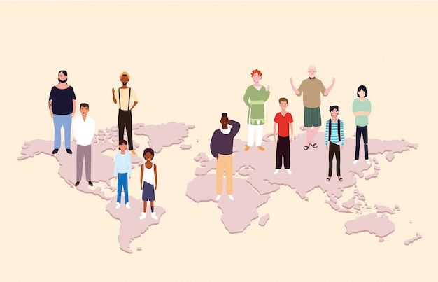 Grupo de personas con mapa de la tierra
