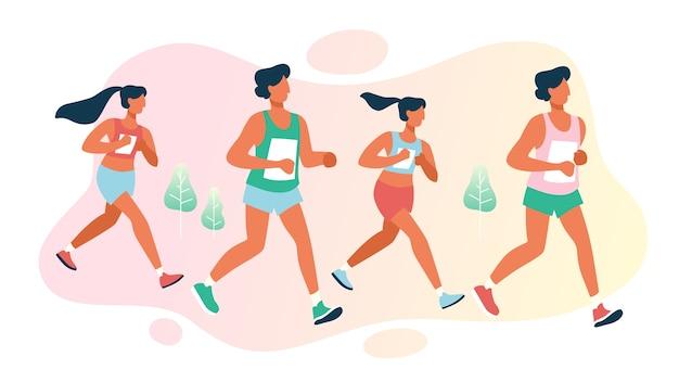 Grupo de personas en maratón. competición de carreras de larga distancia