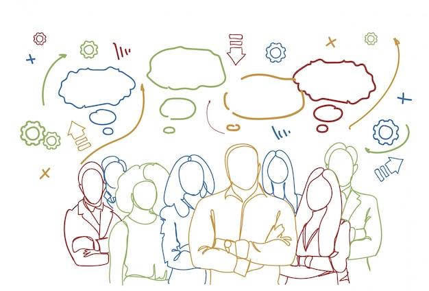 Grupo de personas de negocios exitosos. equipo de trabajo en equipo del equipo de empresarios dibujado a mano