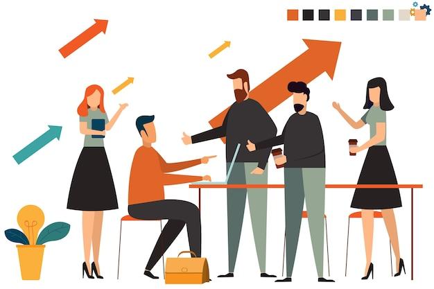 Grupo de personas de negocios de inicio que trabajan todos los días en el espacio de oficina de coworking.