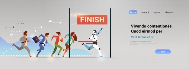 El grupo de personas de negocios y el robot compiten para llegar a la línea de meta la tecnología de inteligencia artificial gana el concepto horizontal plano