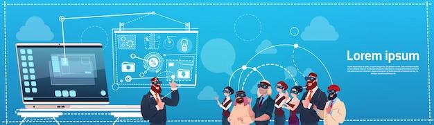Grupo de personas de negocios usar gafas de realidad virtual pantalla de interfaz digital seminario de presentación
