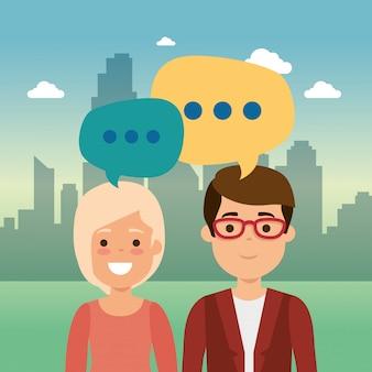 Grupo de personas en el parque con burbujas de discurso