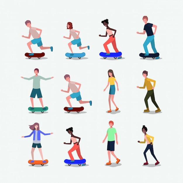 Grupo de personas en patines y monopatines.