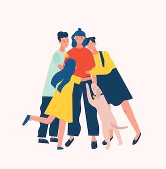 Grupo de personas y perros que rodean y abrazan o abrazan a una mujer joven. el apoyo, el cuidado, el amor y la aceptación de los amigos.