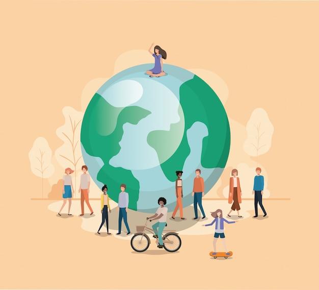 Grupo de personas con personaje avatar del planeta tierra.