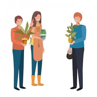 Grupo de personas con personaje de avatar de planta de interior