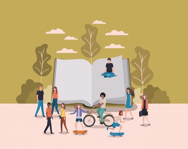Grupo de personas con personajes de avatares de libros.