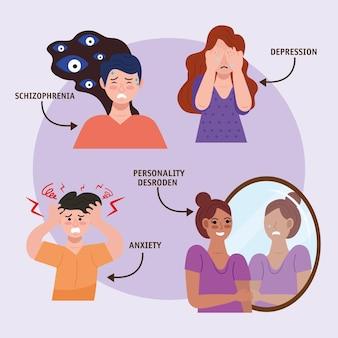 Grupo de personas con personajes de trastorno bipolar.