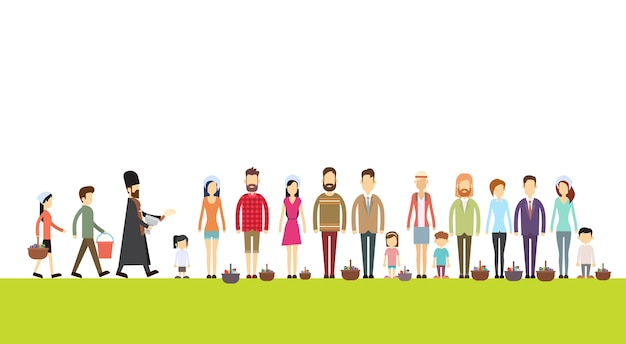 Grupo de personas de pie en línea