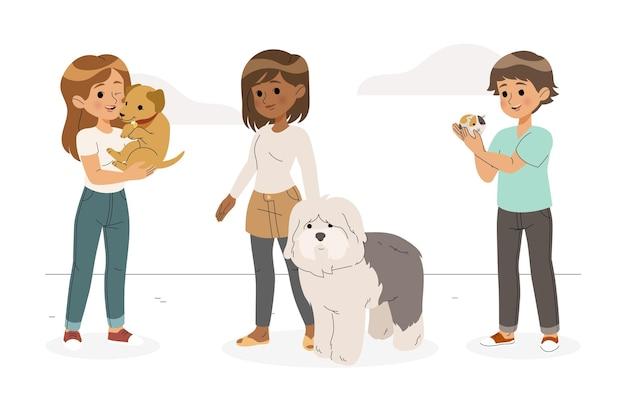 Grupo de personas planas con mascotas.