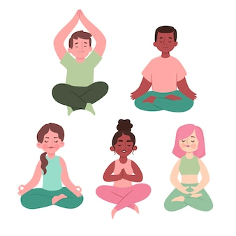 Grupo de personas planas meditando
