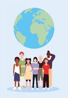 Grupo de personas con el planeta tierra