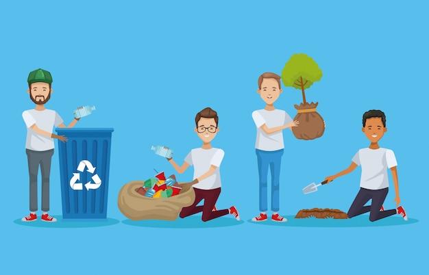 Grupo de personas plantando y reciclando