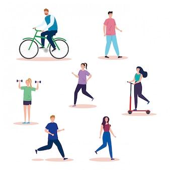 Grupo de personas practicando actividades avatar personajes ilustración diseño