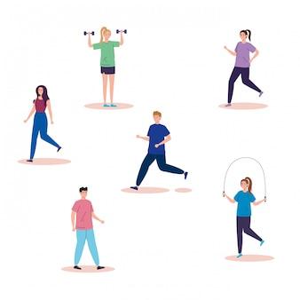 Grupo de personas practicando actividades personajes avatar